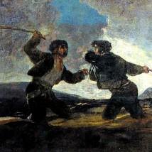"""""""Duelo a garrotazos"""" por Francisco de Goya"""